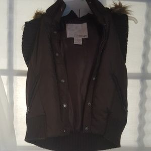 Brown vest with fur lined hood